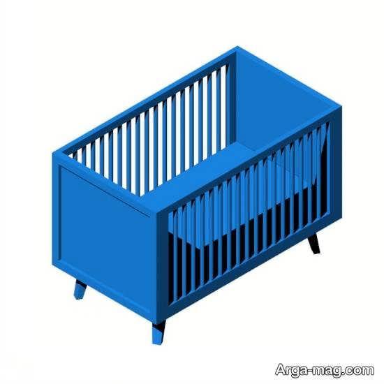 طرح تخت نوزادی با رنگ آبی و زیبا