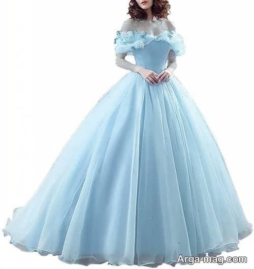 لباس عروس ساده آبی