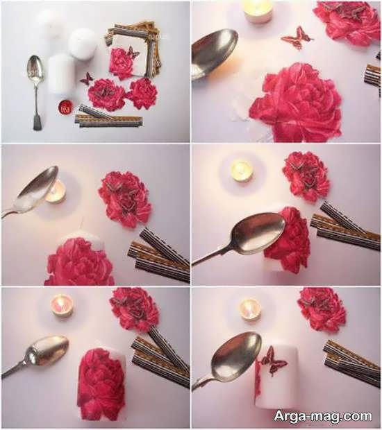 گالری زیبایی از تزیین شمع با دستمال کاغذی