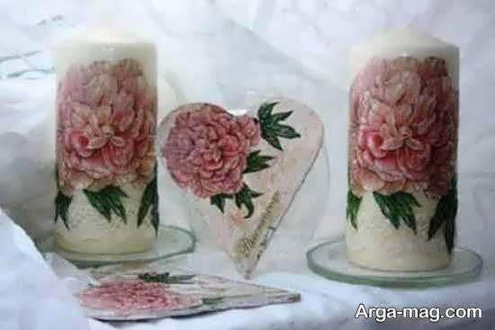 مجموعه ای زیبا و منحصر به فرد از تزیین شمع با دستمال کاغذی