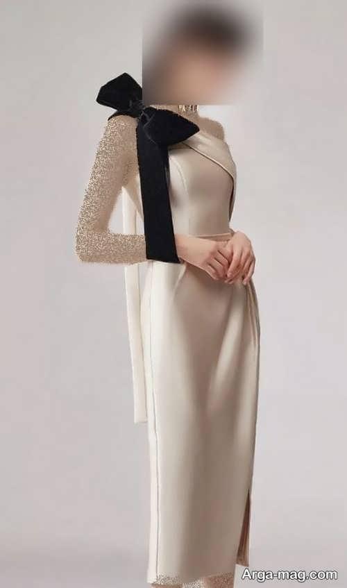 مدل لباس پاپیون دار رنگ روشن
