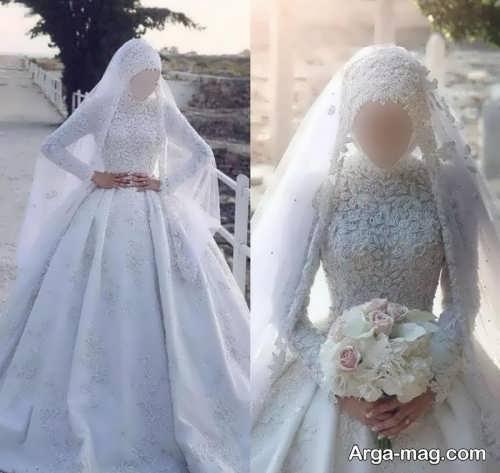 لباس عروس پوشیده و یقه بسته