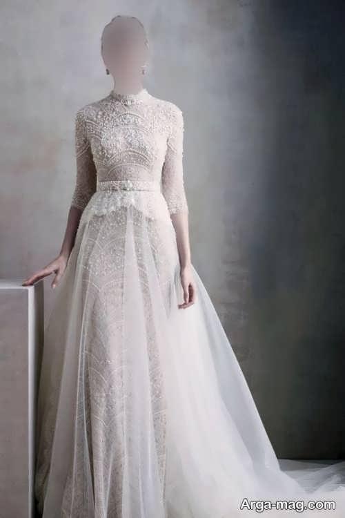 مدل لباس عروس یقه بسته و جدید