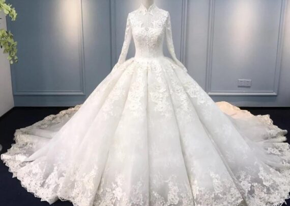 مدل لباس عروس یقه بسته