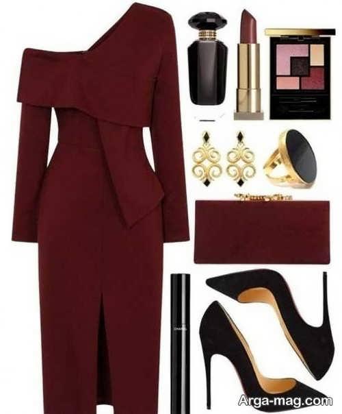 ست لباس زنانه زرشکی