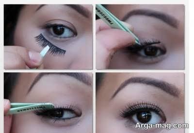 مراحل قرار دادن مژه مصنوعی روی پلک چشم ها