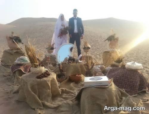 ژست عکس عروس و داماد با سفره عقد