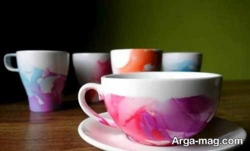 تزیین فنجان با لاک