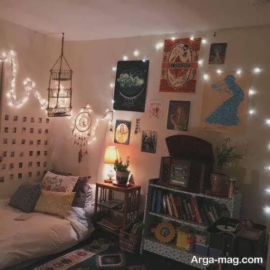 نمونه هایی منحصر به فرد و جذاب از زیباسازی اتاق با ریسه ی نور