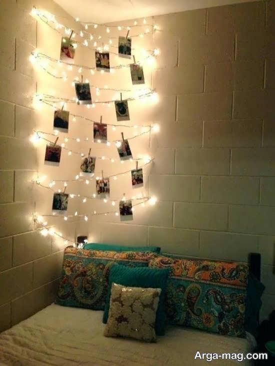 ایده هایی زیبا از تزیین اتاق با ریسه ی نور برای سلیقه های مختلف