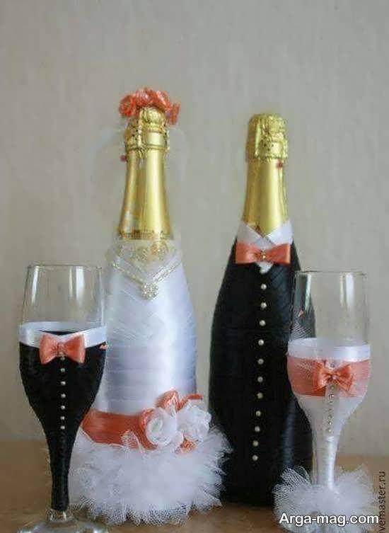 ایده هایی بینظیر و متفاوت از تزیین بطری عروس با سلیقه های مختلف