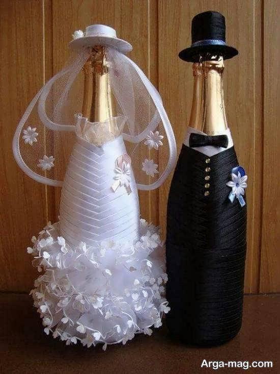 ایده هایی بینظیر و جذاب از تزیین بطری عروس جهیزیه