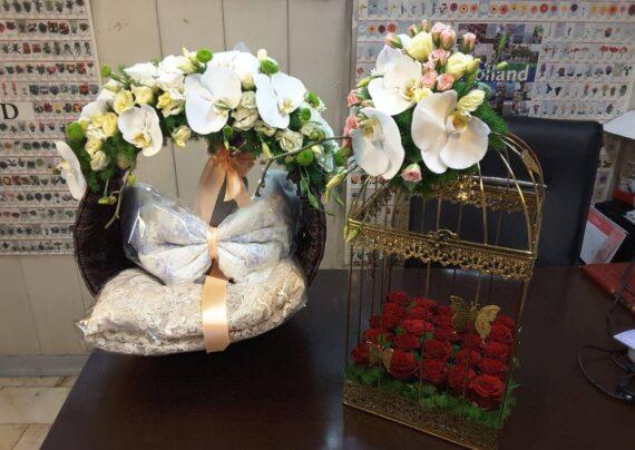 گالری شیک و متفاوتی از تزیین سبد گل بله برون