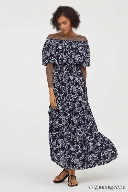 لباس بدون سرشانه طرحدار