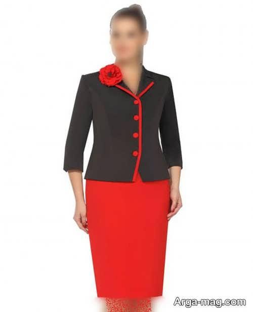 کت دامن مشکی و قرمز