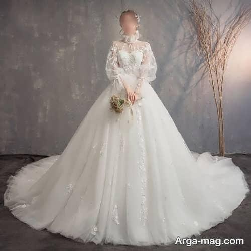 لباس عروس شیک و آستین پف دار