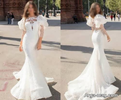 لباس عروس شیک و آستین پفی