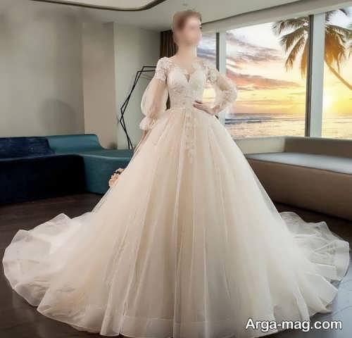 لباس عروس زیبا و آستین پف دار
