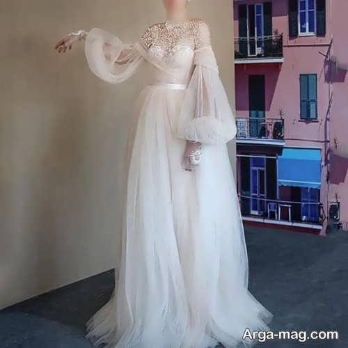 پیراهن عروس ساده و آستین پف دار
