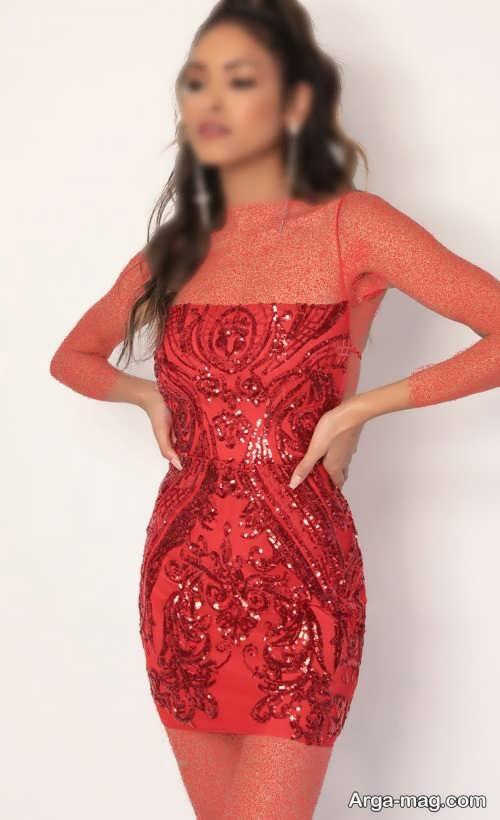 مدل لباس پولکی قرمز