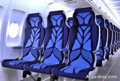 رنگ آبی در صندلی هواپیما