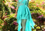 مدل لباس مجلسی فیروزه ای