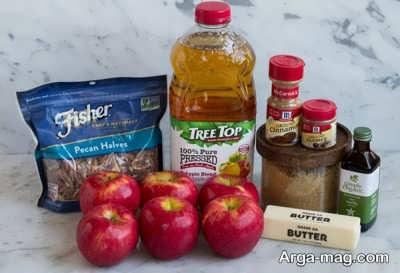 مواد لازم برای تهیه دسر سیب