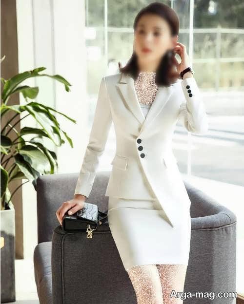 کت دامن رنگ سفید