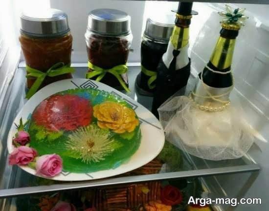 زیباسازی ژله لیوانی برای یخچال عروس