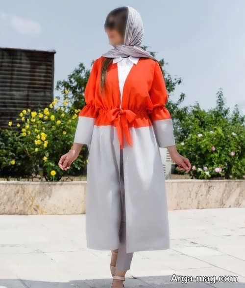 ست لباس نارنجی و خاکستری
