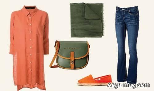 ست لباس نارنجی و سبز