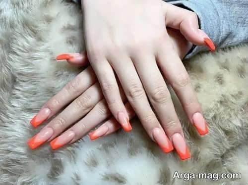 دیزاین ناخن نارنجی و شیک