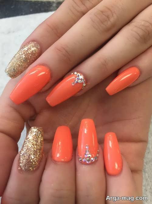 دیزاین ناخن نارنجی