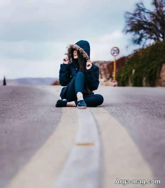 ژست لاکچری دخترانه در جاده