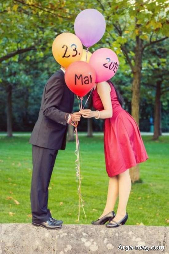 ژست عکس عاشقانه با بادکنک