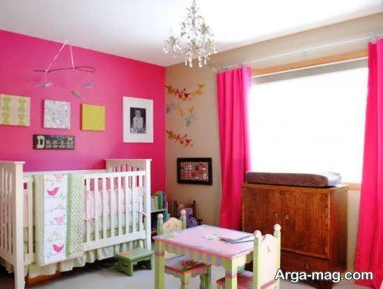 مجموعه ای متنوع و متفاوت از چیدمان اتاق نوزاد با رنگ دخترانه صورتی