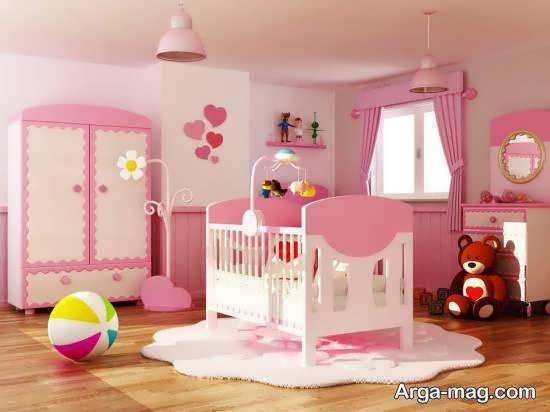 نمونه هایی لاکچری و شیک از چیدمان اتاق نوزاد صورتی رنگ