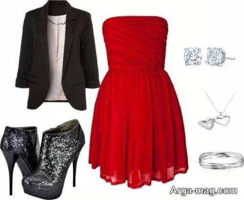 ست لباس مجلسی قرمز رنگ