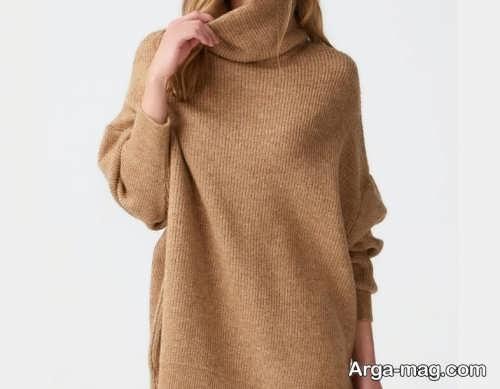 لباس یقه اسکی قهوه ای