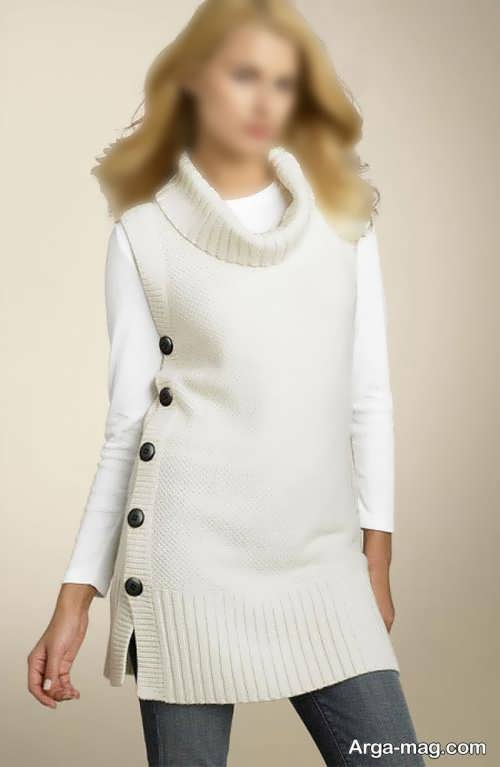 لباس سفید یقه اسکی