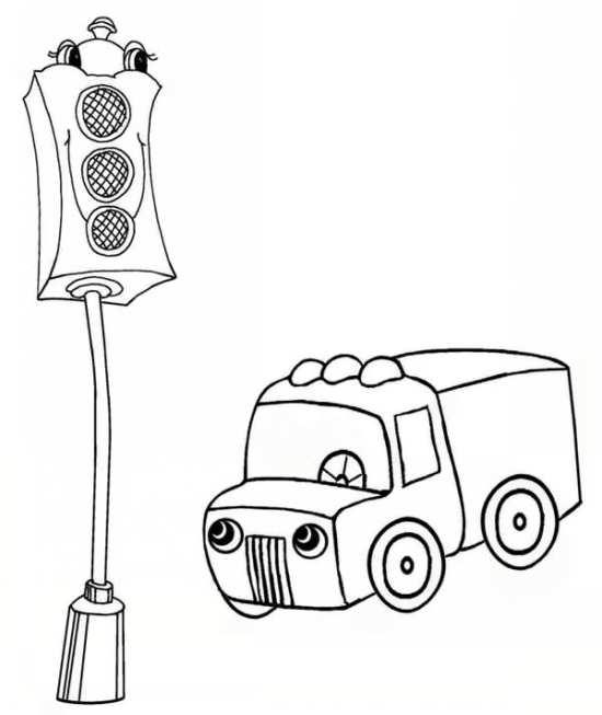 نقاشی ماشین و چراغ راهنما