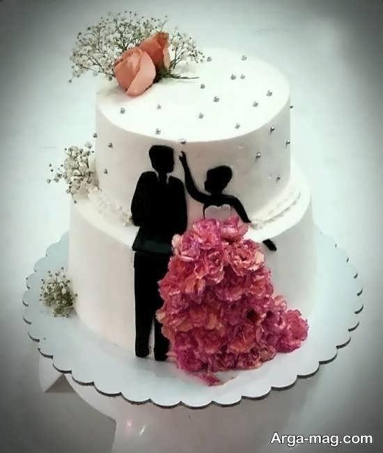 گالری زیبایی از تزیینات کیک عروسی دو ردیفه