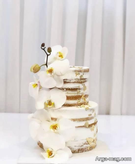 تزیینات زیبای کیک دو لایه ای با گل های سفید