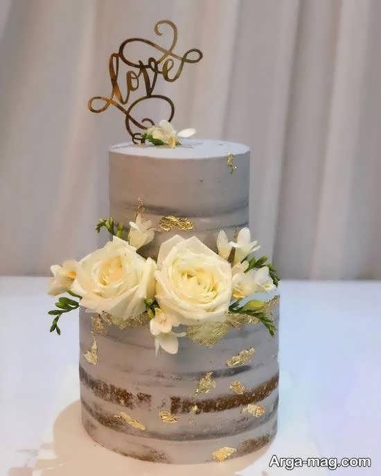 گالری شیکی از کیک عروسی با تزیینات زیبا و دو ردیف