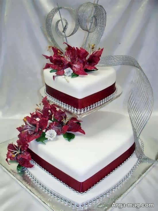 نمونه هایی بینظیر و جذاب از کیک عروسی دارای دو ردیف