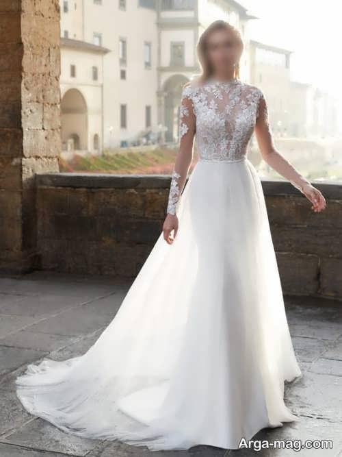 لباس عروس زیبا و آستین دار
