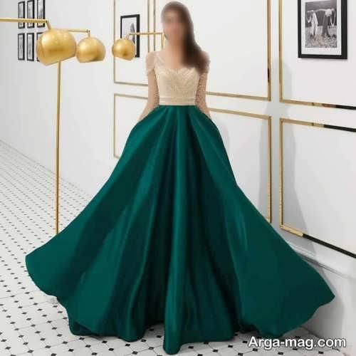مدل لباس مجلسی 2021 دو رنگ