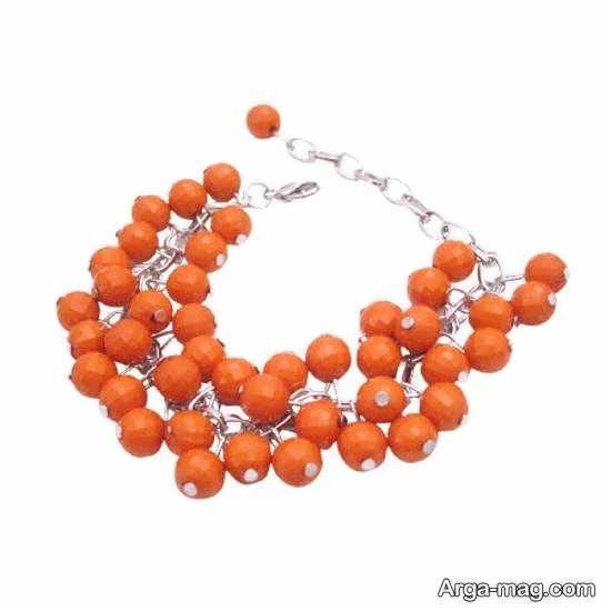 آموزش ساخت دستبند زیبا با استفده از مهره های نارنجی به شکل خوشه