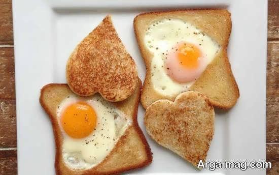 تزیینات نان تست با استفاده از تخم مرغ