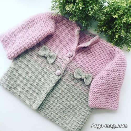 لباس نوزاد بافتنی دو رنگ